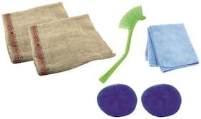 COMBO OF 1 SINK BRUSH +  2 KITCHEN DUSTER + 2 PLASTIC SCRUBBER + 2 MICROFIBRE CLOTH