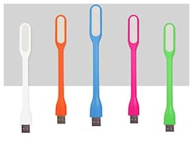 Combo of 5 Flexible Portable Bendable USB LED Light Lamp Foldable Torch Gadget (Color May Vary)