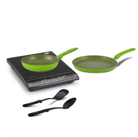Combo Of Glen GL 3070 induction Cooker & Alda Non-Stick Cookware Gift Set - 2 Pc (Green)