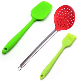 Combo of Silicone Spatula Oil Brush and Skimmer Ladle