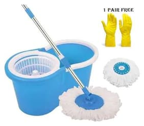 Combo of Spin Bucket Mop with 2 Refills + 1 Pair Reusable Cleaning Glove