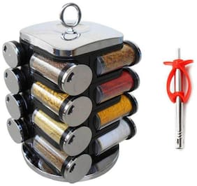 Combo of Spice Rack 16 in 1 / Masala Rack Polypropylene Spice Container Set of 16 Jar + Fish Type Gas Lighter (Multi color)