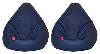 COMBO OFFER Ink Craft SET OF TWO BLUE XXXL BEAN BAG COVER ONLY by Furniture Land