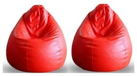 COMBO OFFER Ink Craft SET OF TWO RED BEAN BAG COVER ONLY XXXL