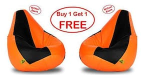 COMBO OFFER Ink Craft SET OF TWO BLACK ORANGE XXL BEAN BAG XXL