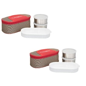 Carrolite 6 Containers Stainless steel Lunch Box - Assorted