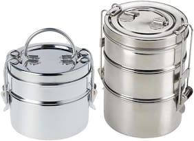 Kiaraa 2 Container Stainless Steel Lunch Box Container Set of 2 ( Silver ,  2500 ml )