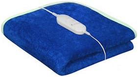 COMFORT IDEAS Microfiber Solid Single Size Electric Blanket Blue