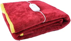 COMFORT IDEAS Polyester Solid Single Size Electric Blanket Maroon
