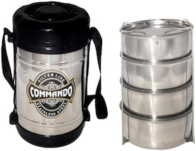 Comfort Silver & Black Lunch box ( Set of 1 , 800 ml )