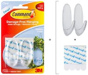 CommandTM Clear Medium Hooks Pack of 2 hooks;4 strips Pack of 2