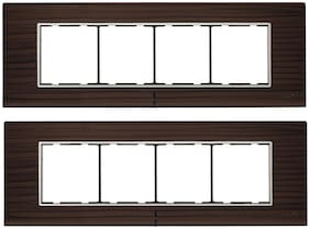 CONA 10808 Status Axis Horizontal 8 Modular Plate with Blue LED Indicator, Nat. Wood - Pack of 2 8 Module Switch Plates Cover Plate 8M Switch Frame