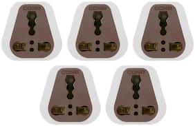 CONA 2496 X5 3 Pin Converter 6A/16A 240V;White Pack of 5|3 Pin Adapter|3 Pin Conversion Plug|Universal Plug|Travel Adapter|3 Pin Socket