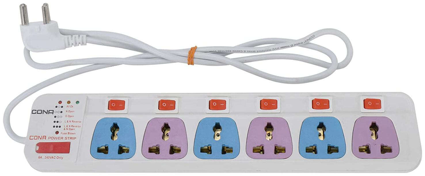 Cona Three Pin White Extension Board   1.5 m , 6 Socket , 6 Switches  by Online Becho
