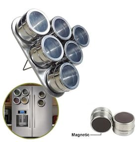 CONNECTWIDE    Magnetic spice rack 6 tins with magnetic triangular Shape surface Material stainless steel