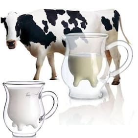 CONNECTWIDE  Cow Udder Shaped Juice Pitcher Clear Wine Beer Mug Cup Double Glazing, Handcraft Borosilicate Glass Cup