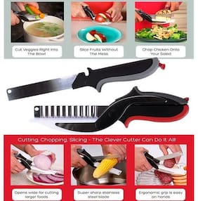 CONNECTWIDE  Smart cutter 3 in 1, Food Chopper/Tool Slicer Dicer/Vegetable & Fruit Cutter/Kitchen Scissors/Knife/Chopping/Cutting Board (1 pcs)