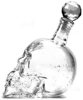CONNECTWIDESkull Head Bottle Flask Crystal Decanter Zombie Shaped Glass Pourer for Alcohol Whisky Wine Vodka Juice Drinks liquor or showpiece