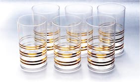 CONQUER Classic Line Pattern Unbreakable Platic Glass Set- Set of 6