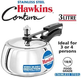Hawkins Contura 3 L Inner Lid Pressure Cooker ( Silver , Stainless Steel , Set of 1 )