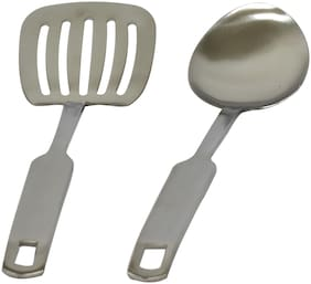 Cook-EZ Ladle Set 2Pc - Matte Finish Stainless Steel - Large Size 1 Turner Spatula & 1 Spoon Ladle - Heavy Quality with Very Strong Neck with Friendly Grip Width