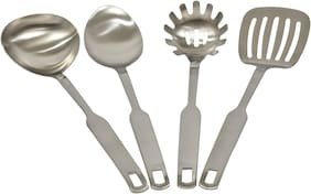 Cook-EZ Ladle Set 4Pc - Matte Finish Stainless Steel - Large Size with Heavy Quality - Very Strong Neck with Friendly Grip Width