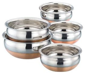 Copper Bottom Cooking Serving & Storage Use Multi Utility kitchen Handi Cookware Set (Set of 5)