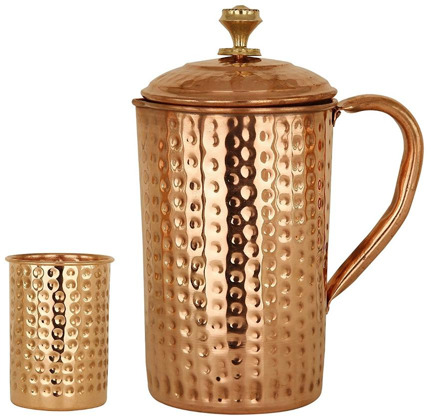 Copper Hammered Set of 1 Jug Pitcher 1700 ml with 1 Glass 300 ml   Storage Drinking Water Home Hotel Restaurant Tableware Drinkware by Taluka Exports