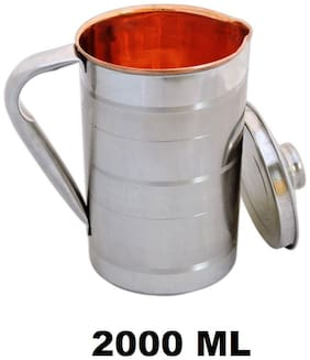 Copper Steel Jug - Water Storage & Drinking Water With Steel Outside;Steel Lid For Water Pitcher Set Of 1 ( 2000 ml ) Size (20.32 cm ( 8 inch) x 12.7 cm (5 inch))- Colour - Silver by Design Villa