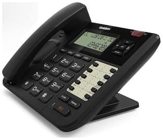 Corded Landline Phone Uniden At8502 Black 2-Line Phone With Speakerphone & Caller Id