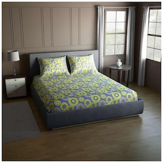 CORE Designed by Spaces Cotton Abstract Double Size Bedsheet 104 TC ( 1 Bedsheet With 2 Pillow Covers , Green )
