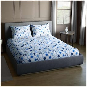 CORE Designed by SPACES Splendor  Blue 1 Double Bed Sheet with 2 Pillow Covers