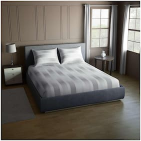 CORE Designed by SPACES Splendor  Grey 1 Double Bed Sheet with 2 Pillow Covers