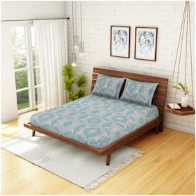 CORE Designed by Spaces Cotton Abstract Double Size Bedsheet 210 TC ( 1 Bedsheet With 2 Pillow Covers , Grey & Blue )