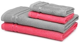 CORE Designed by Spaces 380 GSM GSM Cotton Bath Towel ( 4 Pieces , Red & Grey )