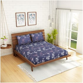 CORE Designed by Spaces Cotton Floral Double Size Bedsheet 210 TC ( 1 Bedsheet With 2 Pillow Covers , Blue & Grey )