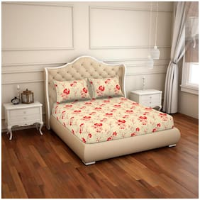 CORE Designed by Spaces Cotton Floral Double Size Bedsheet 104 TC ( 1 Bedsheet With 2 Pillow Covers , Beige )