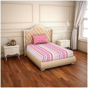 CORE Designed by Spaces Cotton Geometric Single Size Bedsheet 144 TC ( 1 Bedsheet With 1 Pillow Covers , Pink )