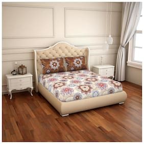 CORE Designed by Spaces Cotton Floral Double Size Bedsheet 144 TC ( 1 Bedsheet With 2 Pillow Covers , Multi )