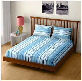 CORE Designed by Spaces Cotton Printed Double Size Bedsheet 104 TC ( 1 Bedsheet With 2 Pillow Covers , Blue )