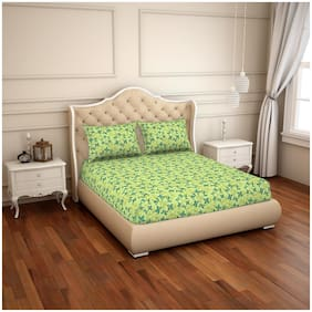 CORE Designed by Spaces Cotton Floral Double Size Bedsheet ( 1 Bedsheet With 2 Pillow Covers , Green )