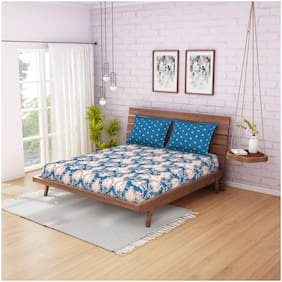 CORE Designed by Spaces Cotton Printed Double Bedsheet ( 1 Bedsheet With 2 Pillow Covers , Blue & Beige )