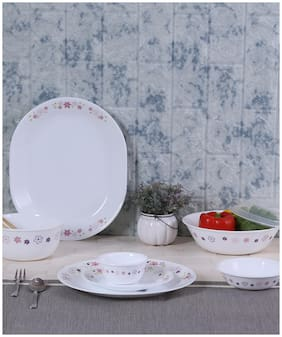 Corelle Vitrelle glass Dinner Sets - Set of 30 , White