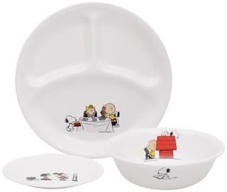 Corelle Vitrelle Glass Dinner Sets (Set of 3pcs)- White