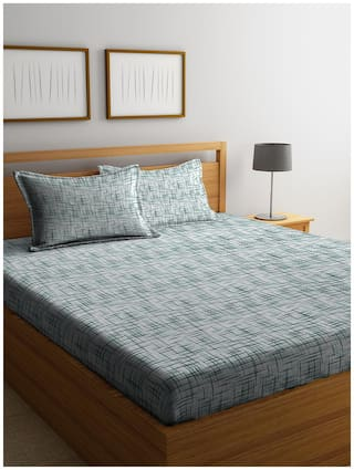 Cortina 104 Thread Count 100% Cotton Double Bedsheet With 2 Pillow Covers