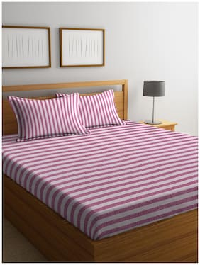 Cortina Cotton Striped Double Bedsheet ( 1 Bedsheet with 2 Pillow Covers , Purple )