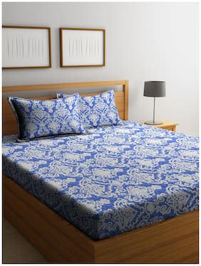 Cortina Cotton Printed Double Bedsheet ( 1 Bedsheet with 2 Pillow Covers , Blue )