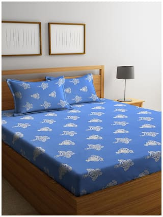 Cortina 144 TC Floral Flat Double Bedsheet ( Blue , Pack of 3 )