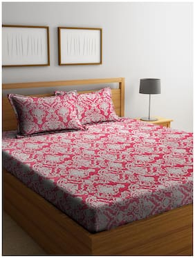Cortina Cotton Printed Double Bedsheet ( 1 Bedsheet with 2 Pillow Covers , Red )
