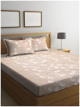 Cortina Cotton Floral Double Bedsheet ( 1 Bedsheet with 2 Pillow Covers , Beige )